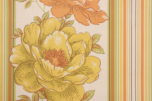 1970s Vintage Wallpaper Yellow and Orange Flower Stripe