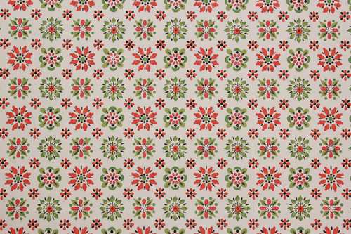 1970s Vintage Wallpaper Red, Orange and Green Geometric