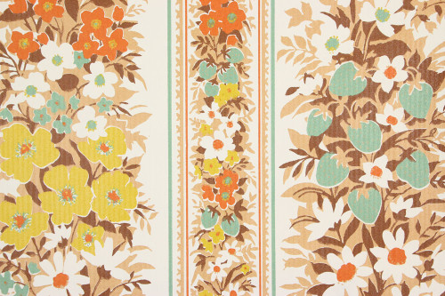 1970s Vintage Wallpaper Orange and Turquoise Floral Vinyl