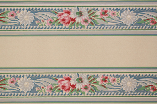 1930s Vintage Wallpaper Border Bouquets on Blue