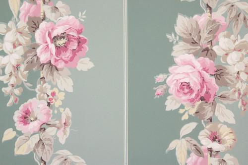 1950s Vintage Wallpaper Pink Roses on Green