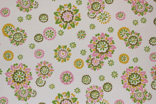 1970s Vintage Wallpaper Pink, Yellow and Green Floral