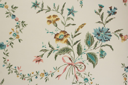 1970s Vintage Wallpaper Bouquets with Pink Ribbon