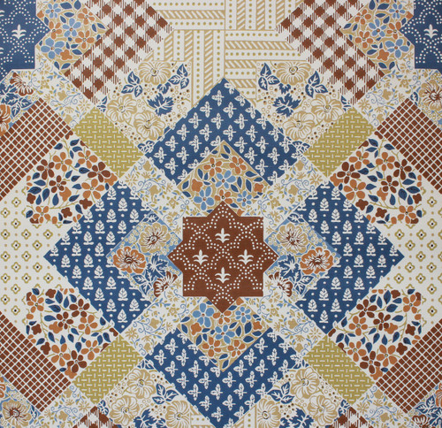 1970s Vintage Wallpaper Quilt Pattern Blue and Brown