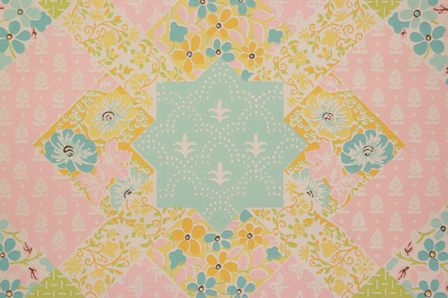 1970s Vintage Wallpaper Quilt Pattern Pink and Blue