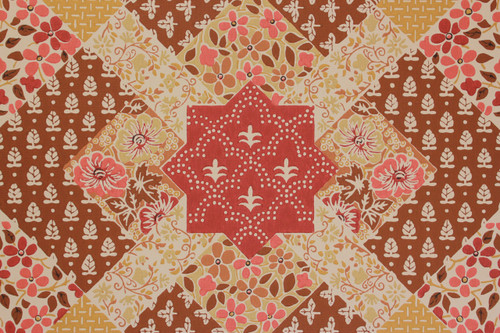 1970s Vintage Wallpaper Quilt Pattern Red and Brown