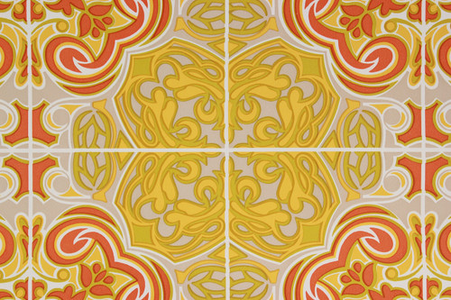 1970s Vintage Wallpaper Retro Mod Orange and Yellow Geometric