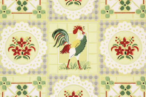1940s Vintage Wallpaper Roosters on Yellow