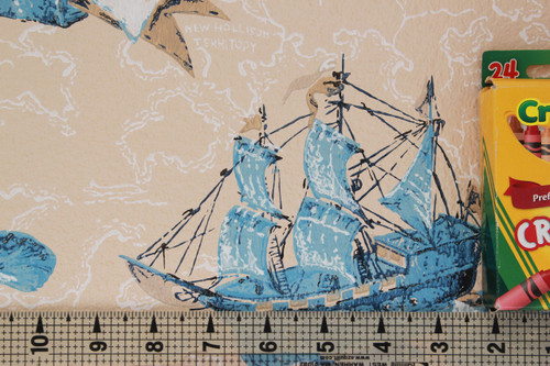1970s Vintage Wallpaper Ships and Maps Blue