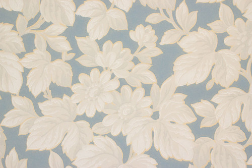 1930s Vintage Wallpaper White Flowers on Blue