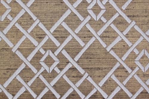 1970s Vintage Wallpaper White Lattice Flocked on Gold