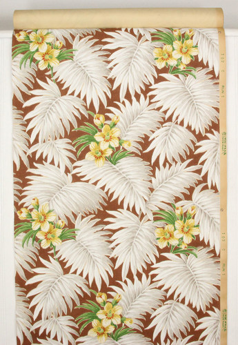 1930s Vintage Wallpaper White Tropical Leaves on Brown