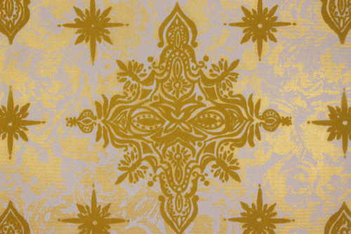 1970s Vintage Wallpaper Flocked Yellow Gold Starbursts