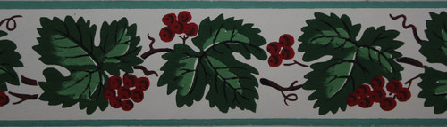 Trimz Vintage Wallpaper Border Berry Leaf