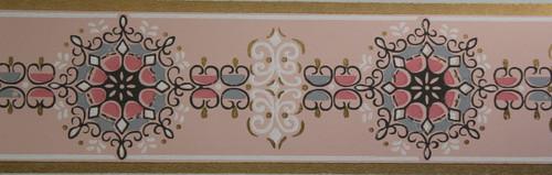Trimz Vintage Wallpaper Border Retro Medallion Pink