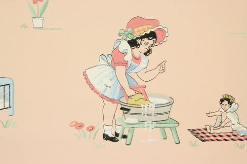 1940s Vintage Wallpaper Childrens Nursery on Pink