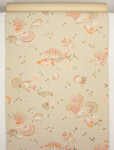 1960s Vintage Wallpaper Orange Fish and Sea Shells