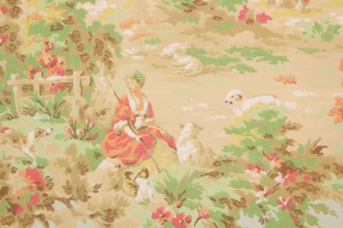1930s Vintage Wallpaper Scenic Shepherd