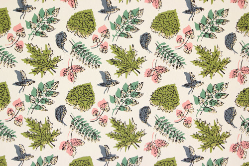 1940s Vintage Wallpaper Pink Green and Blue Leaves