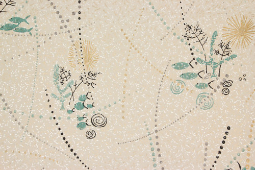 1950s Vintage Wallpaper Aqua Fish with Black and Gold Accents