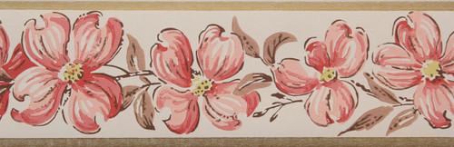 Trimz Vintage Wallpaper Border Pink Floral