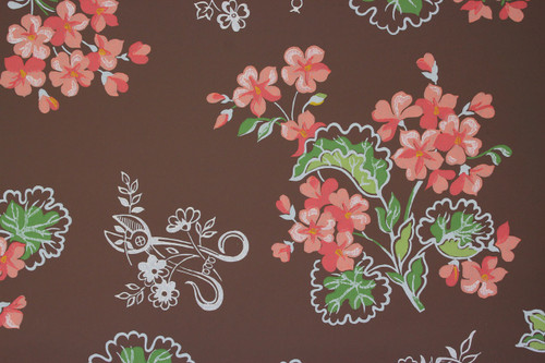 1950s Vintage Wallpaper Pink Geraniums on Brown