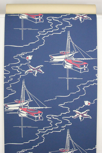 1950s Vintage Wallpaper Sailboats on Blue