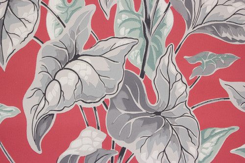 1940s Vintage Wallpaper Large Gray Leaves on Red