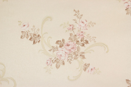 1950s Vintage Wallpaper Pink Roses with Scrolls