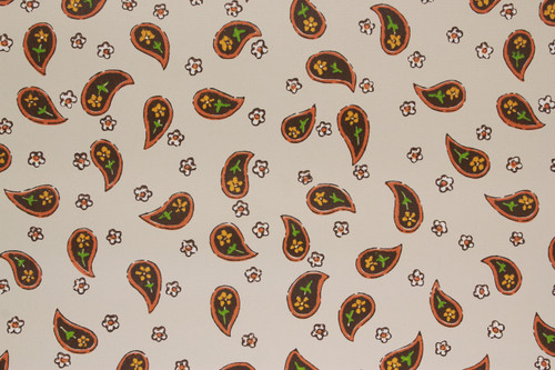 1970s Vintage Wallpaper Brown Paisley