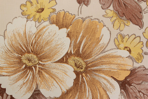 1970s Vintage Wallpaper Large Flowers Yellow and Brown