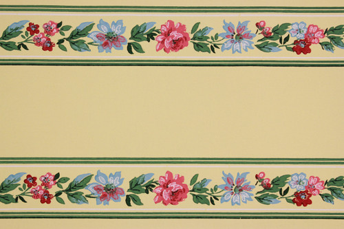 1940s Vintage Wallpaper Border Pink Rose Floral on Yellow