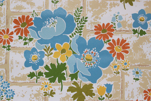 1970s Vintage Wallpaper Blue Flowers on Brick