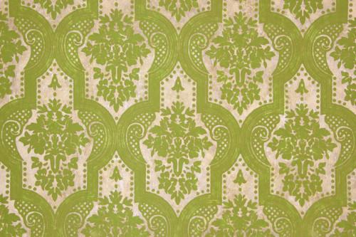 1970s Retro Vintage Wallpaper Flocked Green Damask