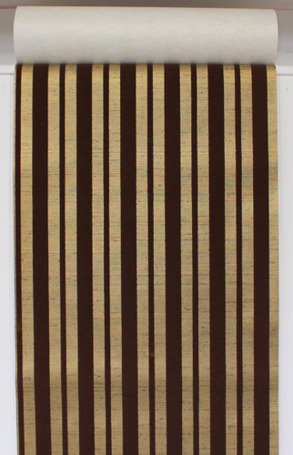 1970s Vintage Wallpaper Brown Flocked Stripe on Gold