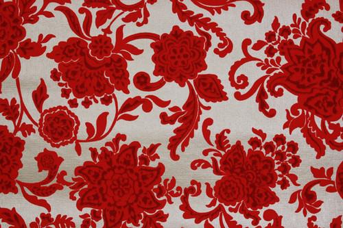 1970s Vintage Wallpaper Red Flocked Flowers