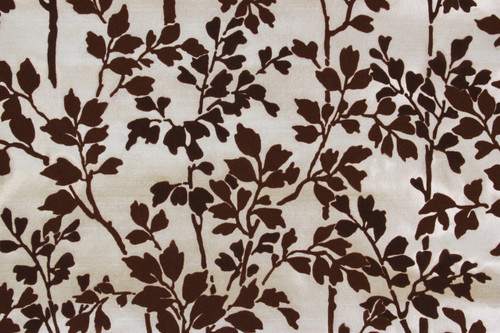 1970s Vintage Wallpaper Brown Flocked Leaves Stems