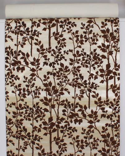 1970s Vintage Wallpaper Brown Flocked Leaves Stems