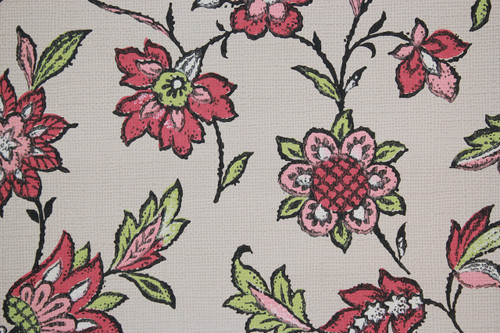 1970s Vintage Wallpaper Pink and Green Flowers