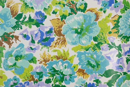 1970s Vintage Wallpaper Retro Blue and Aqua Flowers