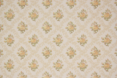 1970s Vintage Wallpaper Yellow Rose Geometric