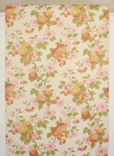 1970s Vintage Wallpaper Cherries and Pink Flowers II