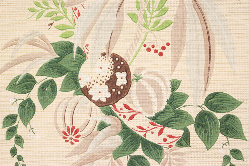 1940s Vintage Wallpaper Tropical Flowers Leaves on Beige
