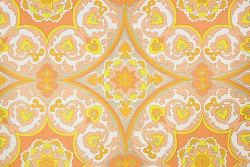 1970s Retro Vintage Wallpaper Orange Gray Geometric Vinyl