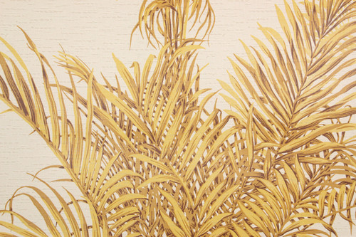 1970s Retro Vintage Wallpaper Yellow Tropical Leaves