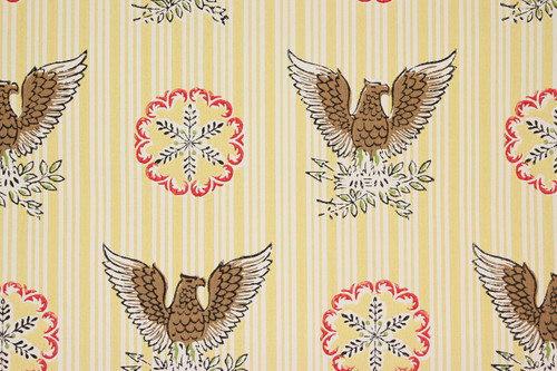 1970s Retro Vintage Wallpaper Eagles on Yellow Stripe