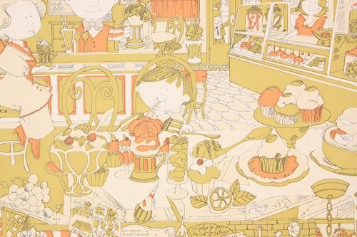 1970s Retro Vintage Wallpaper Soda Shop Pizza Parlor