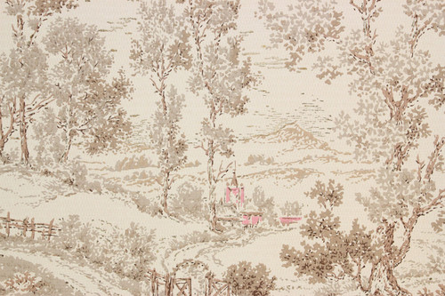 1950s vintage wallpaper pink and brown scenic