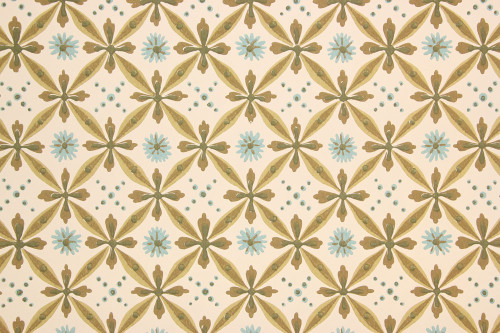 1950s Vintage Wallpaper Blue Green Brown Geometric