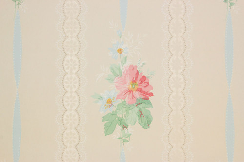 1940s Vintage Wallpaper Pink Flowers Blue Ribbon